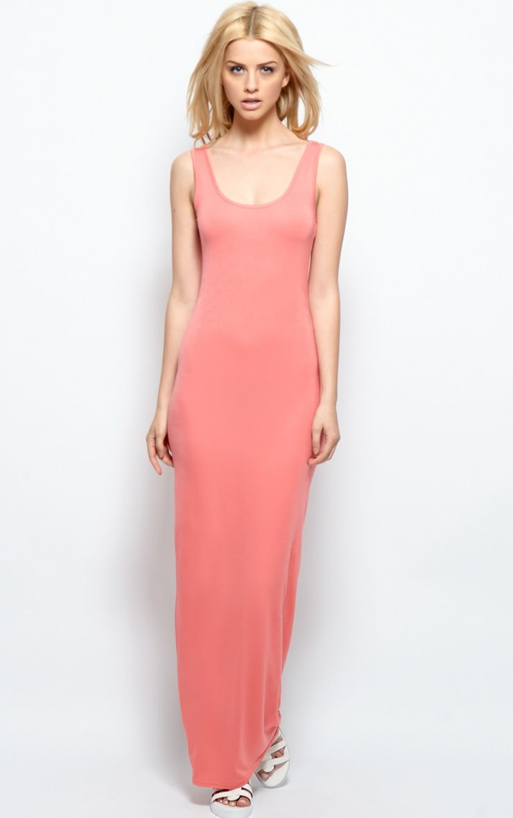 Zoe Coral Jersey Maxi Dress 1