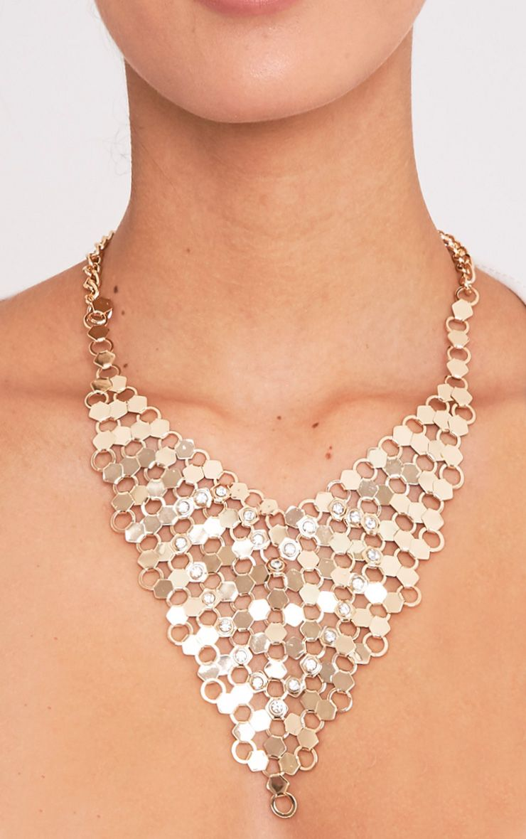 Maleana Gold Chainmail Drop Necklace