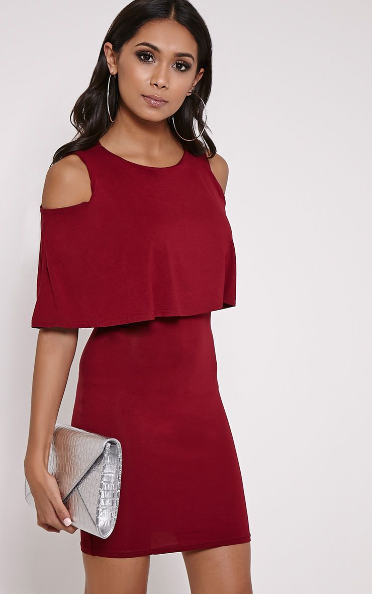Lydia Wine Double Layer Mini Dress 1