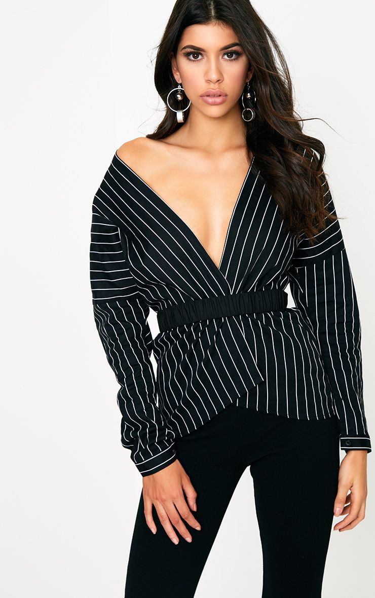 Black Stripe Off Shoulder Belted Shirt