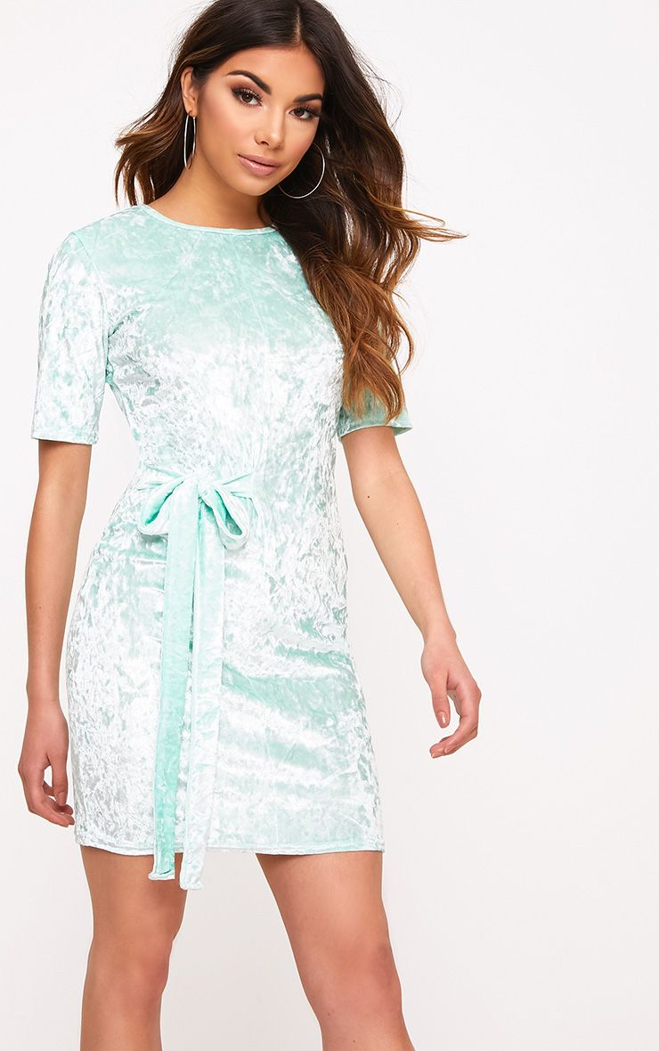 Lula Mint Crushed Velvet Tie Side T Shirt Dress