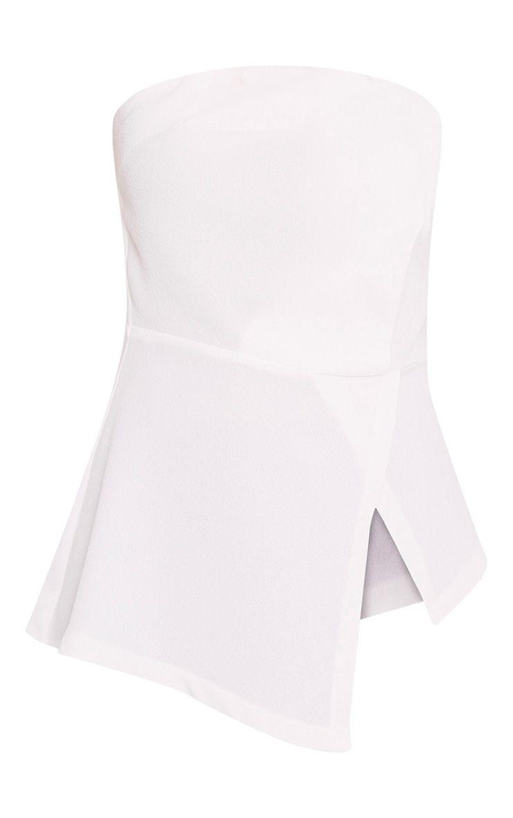 Jordyn White Structured Bandeau Asymmetric Top 3