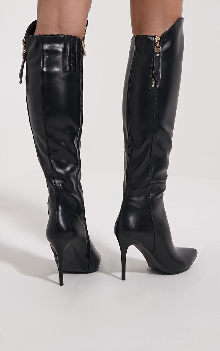 Bronte Black Pointed Knee High Boots Boots