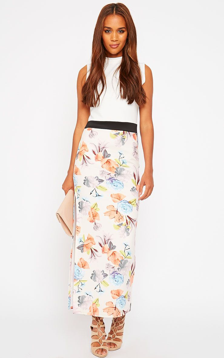 Olena White Floral High Neck Maxi Dress 1