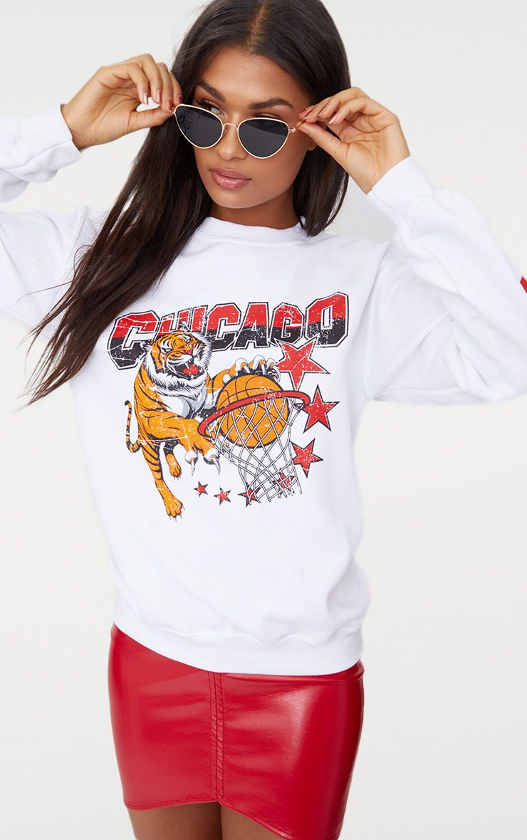 White Chicago Slogan Oversized Sweater