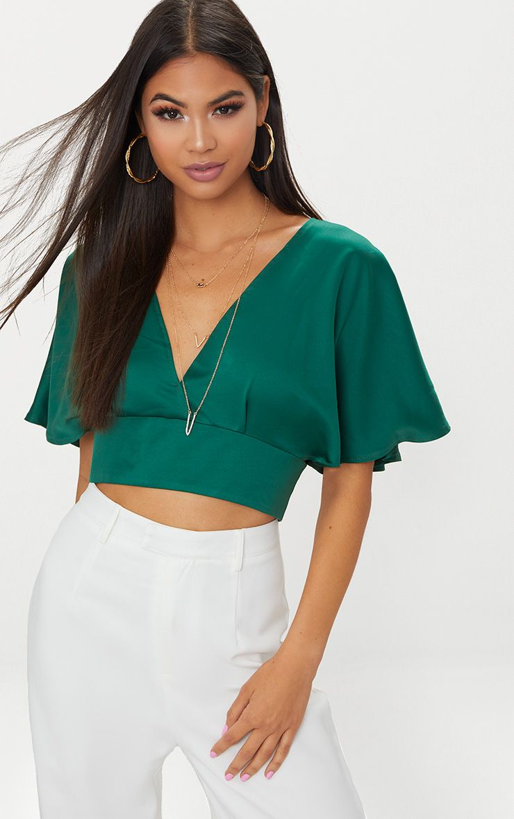 Emerald Green Satin Flare Sleeve Plunge Crop Top