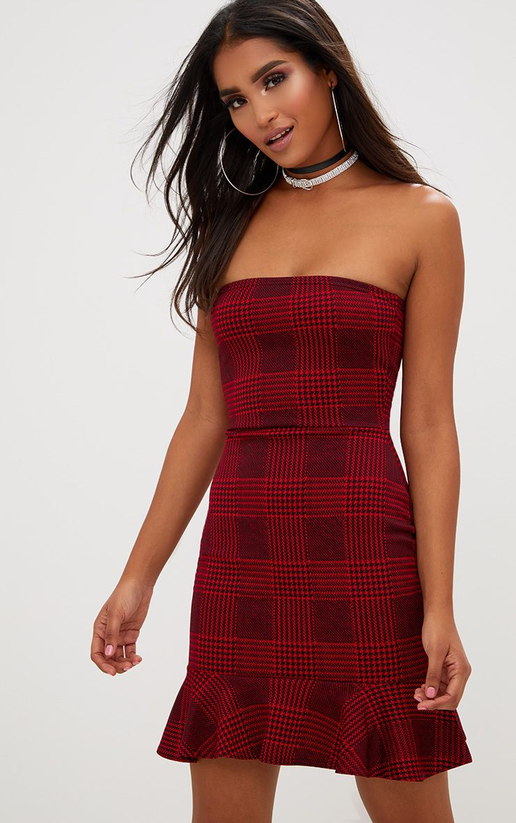 Red Checked Bandeau Frill Hem Bodycon Dress
