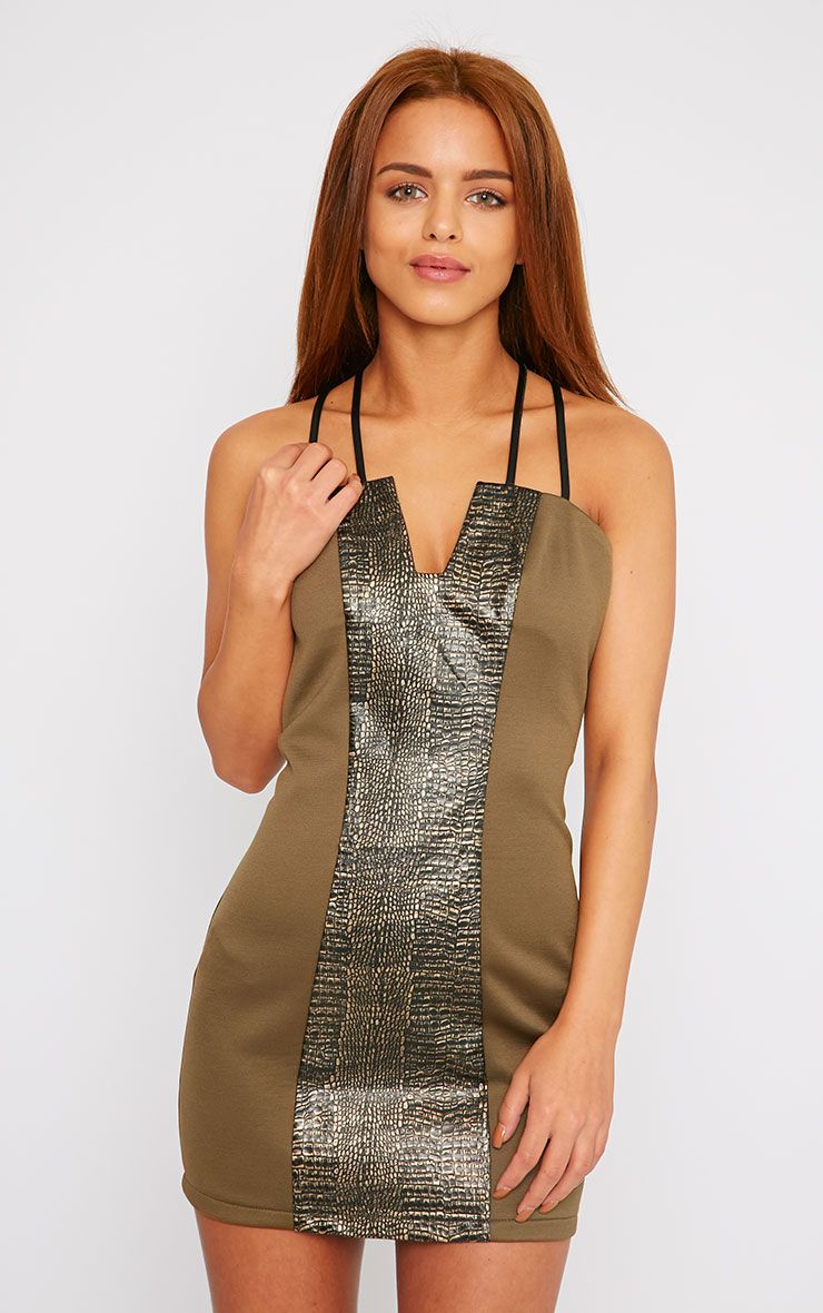 Jessie Khaki PU Croc Panel Mini Dress 1