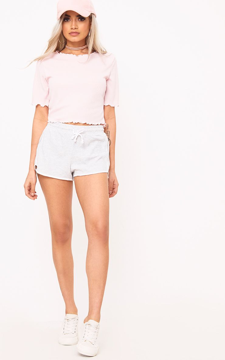 Baby Pink Frill Contrast Edge Crop Top Tops