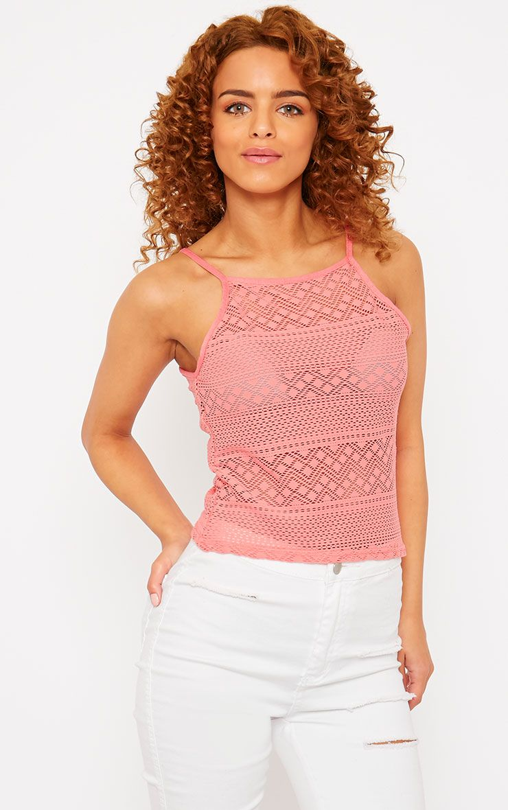 Erina Coral Lace Strappy Top 1