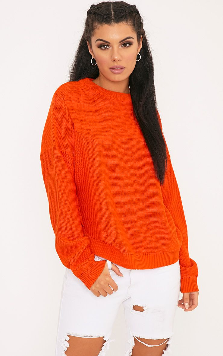 Roberta Orange Round Neck Knitted Jumper