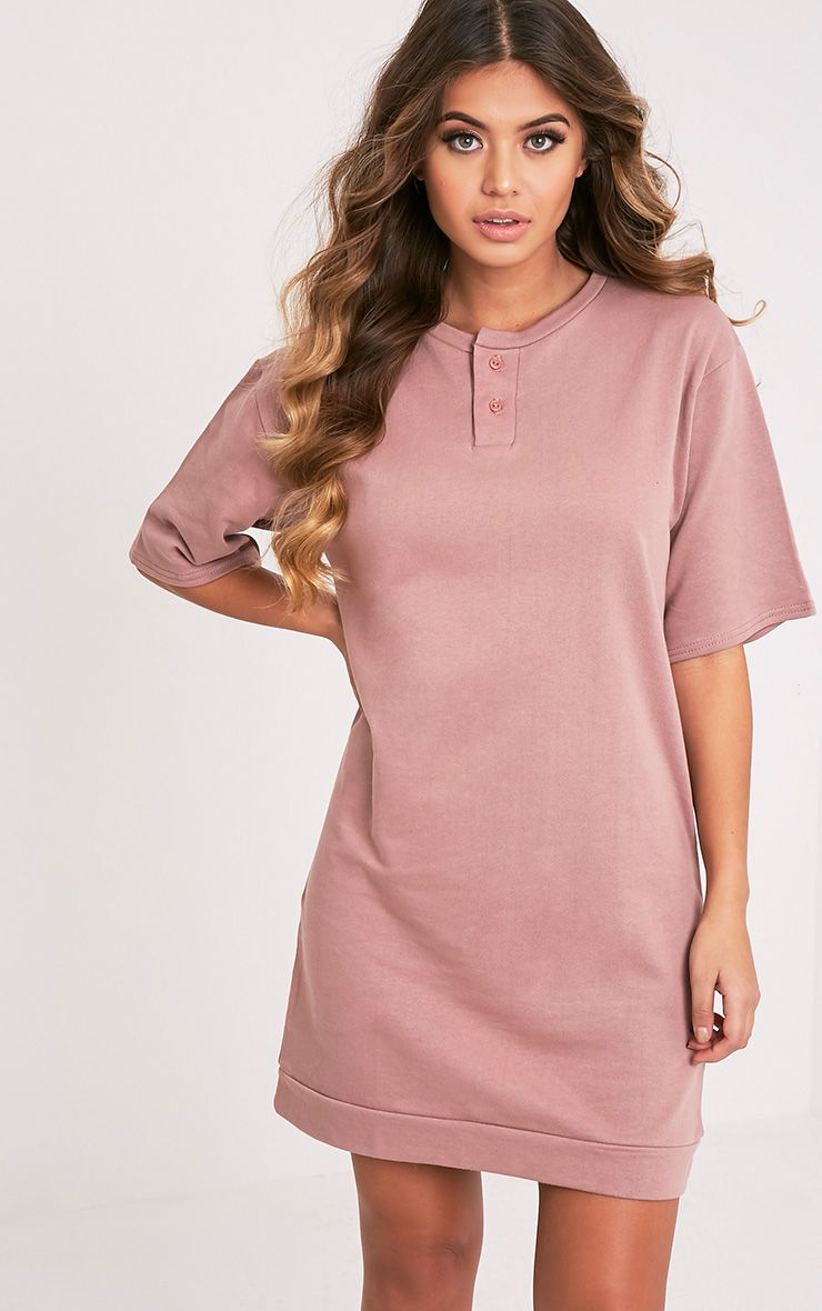 Anabelle Dark Mauve Button Up Sweater Dress