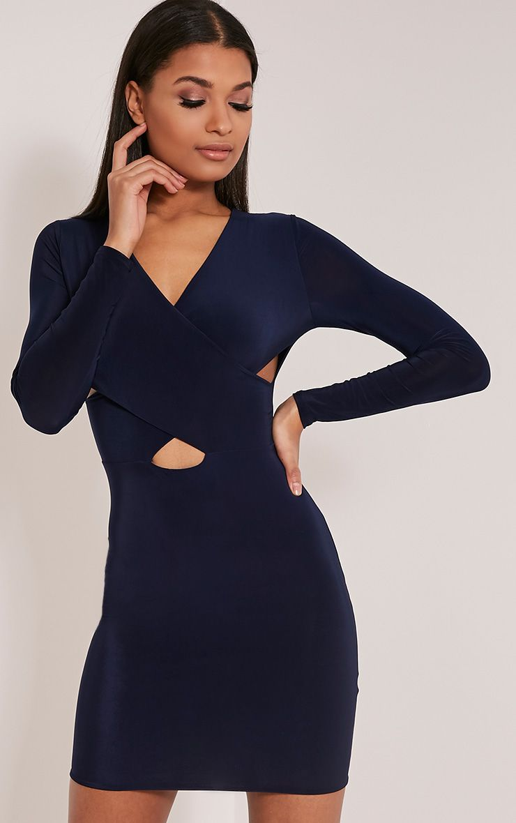 Tamaya Navy Long Sleeve Cross Front Bodycon Dress 1