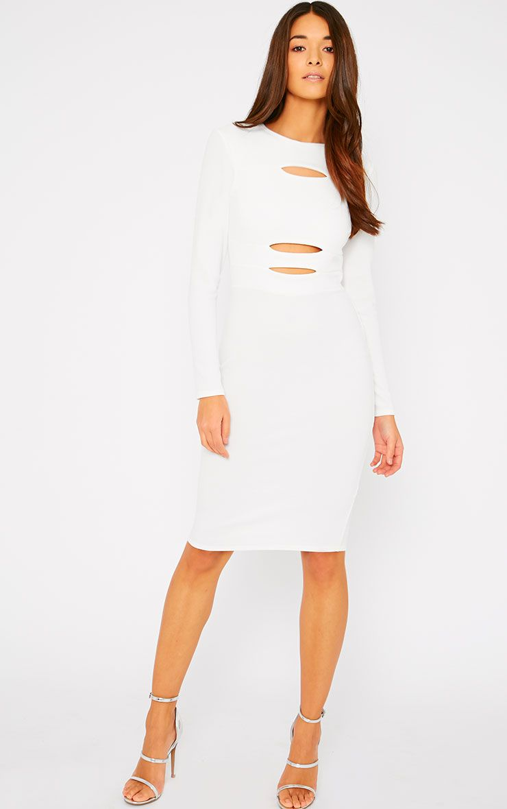 Rhia Cream Long Sleeve Slash Front Midi Dress 1