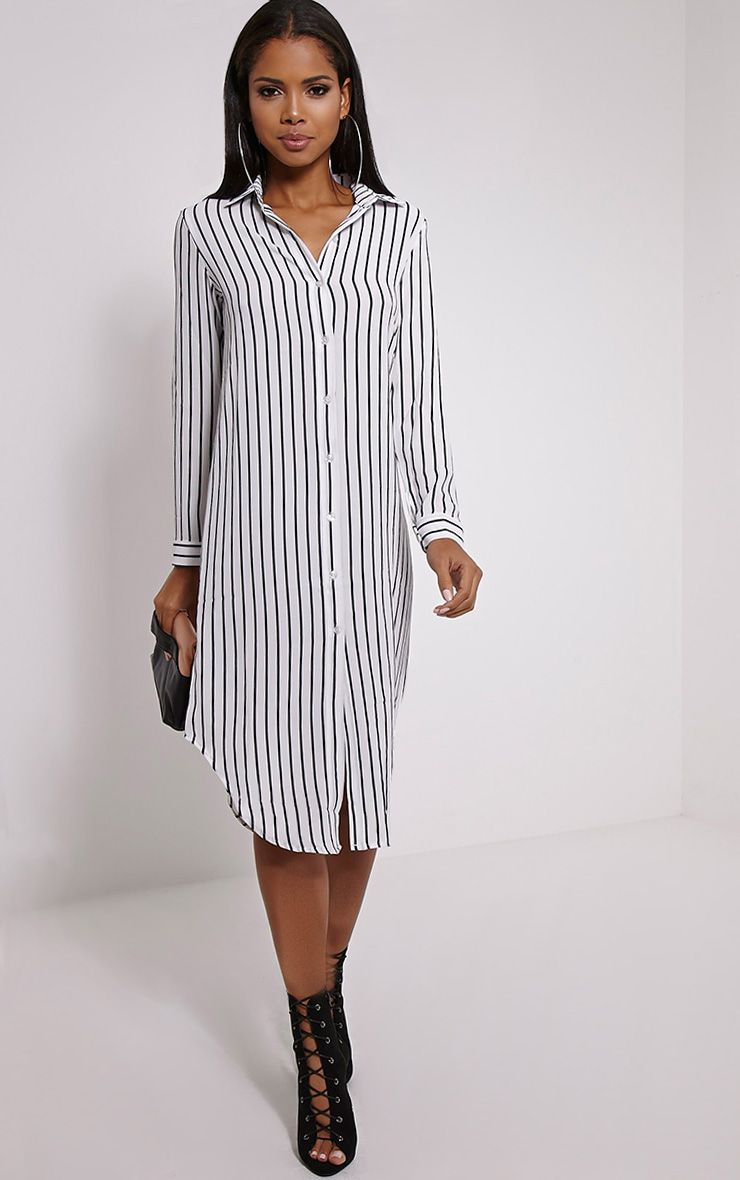 Chelsea Cream Longline Striped Shirt Dress 1