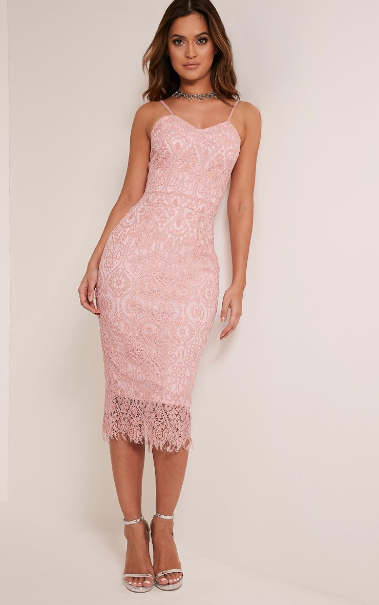 Stacie Dusty Pink Lace Midi Dress 1
