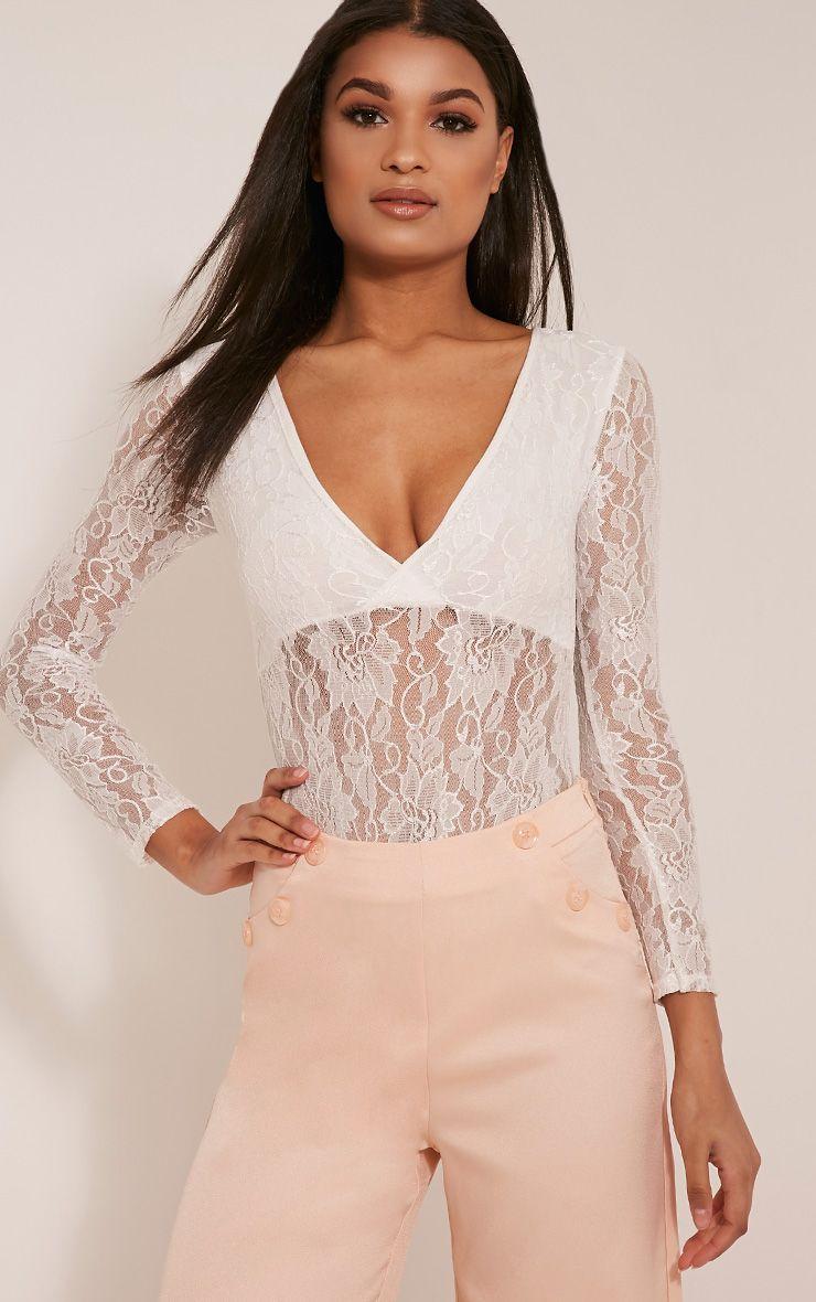 Maylene Cream Lace V Neck Bodysuit 1