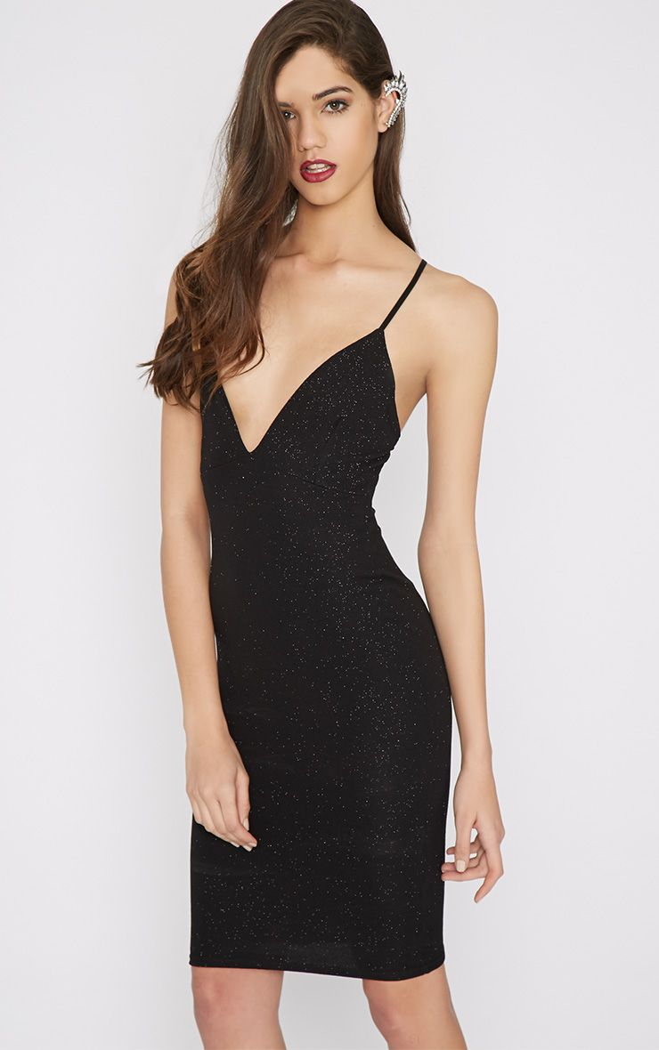 Kennedy Black Glitter Plunge Dress 1