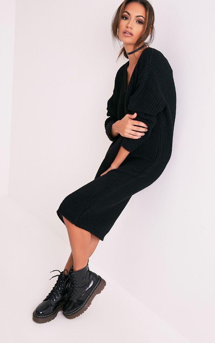 Breeze robe pull surdimensionnée à col en V noire 5