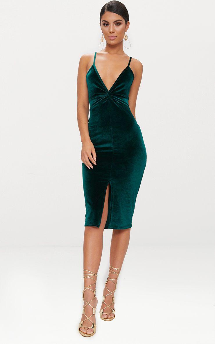 Emerald Green Velvet Plunge Twist Front Midi Dress