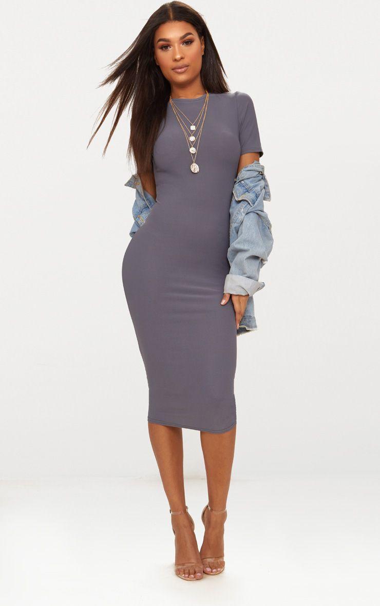Charcoal Grey Cap Sleeve Midi Dress