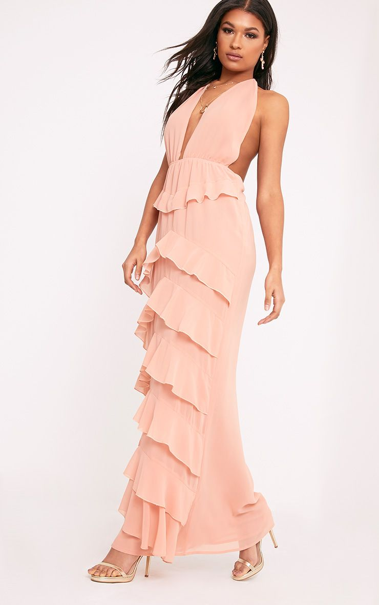Jayden Blush Chiffon Frill Detail Maxi Dress