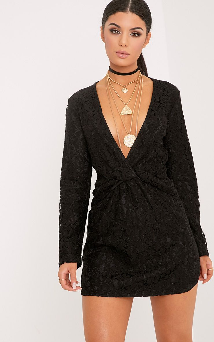 Dottie Black Lace Twist Front Shift Dress