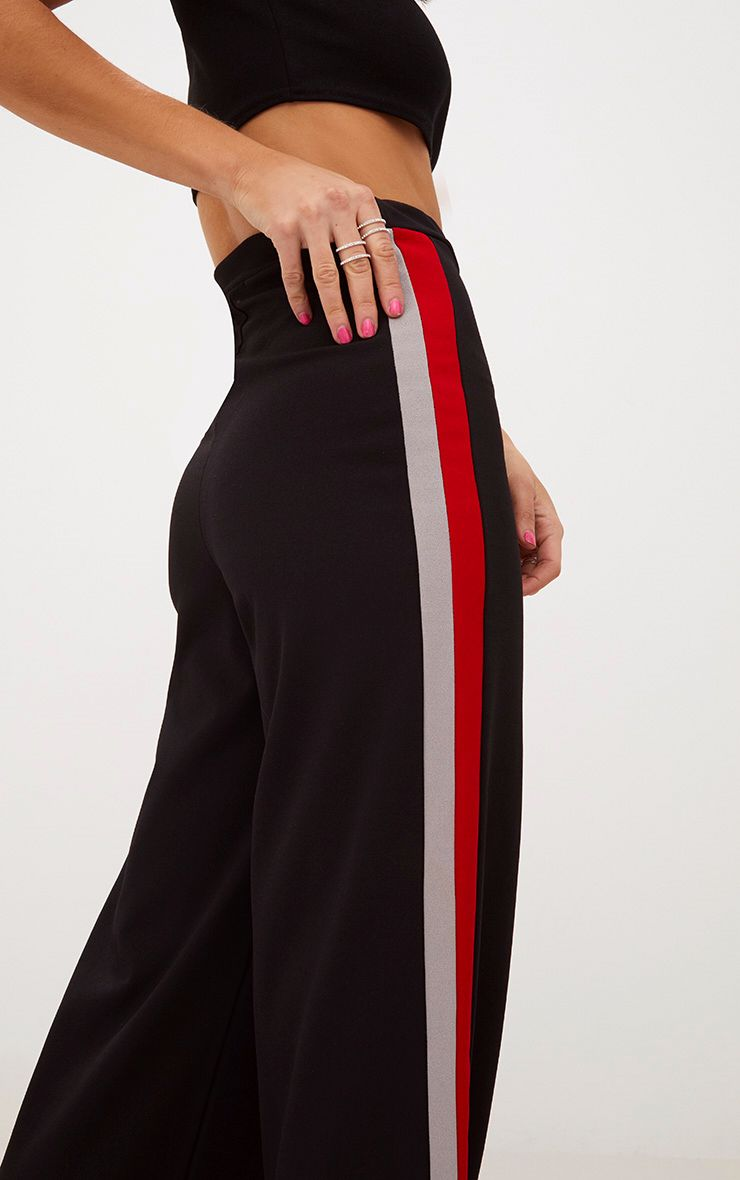 Black Sport Side Stripe Wide Leg Trousers 5