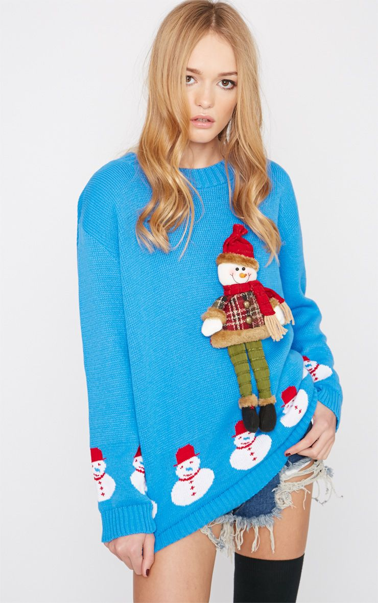 Kara Blue 3D Snowman Toy Christmas Jumper  1