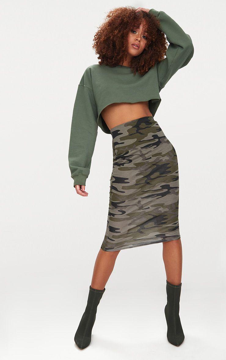 Khaki Camo Print Midi Skirt