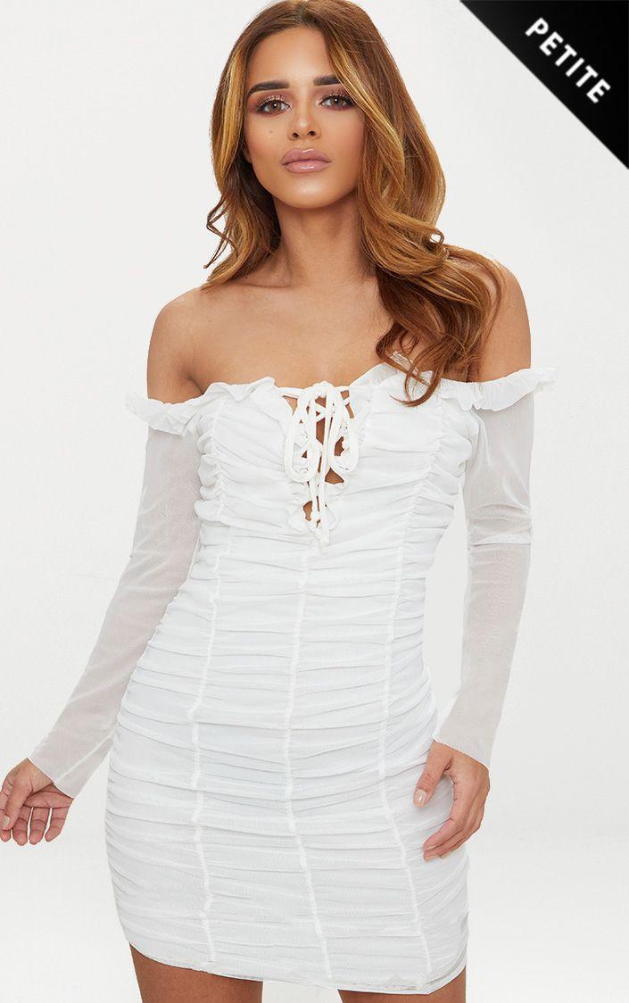 Petite White Gathered Bardot Bodycon Dress 1