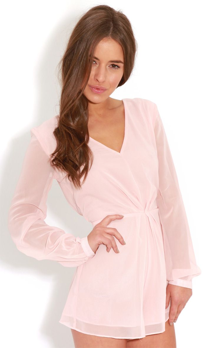 Alexandra Peach Chiffon Playsuit  1