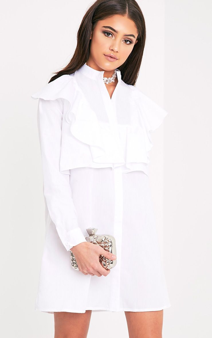 Flora White Frill Front Shirt Dress