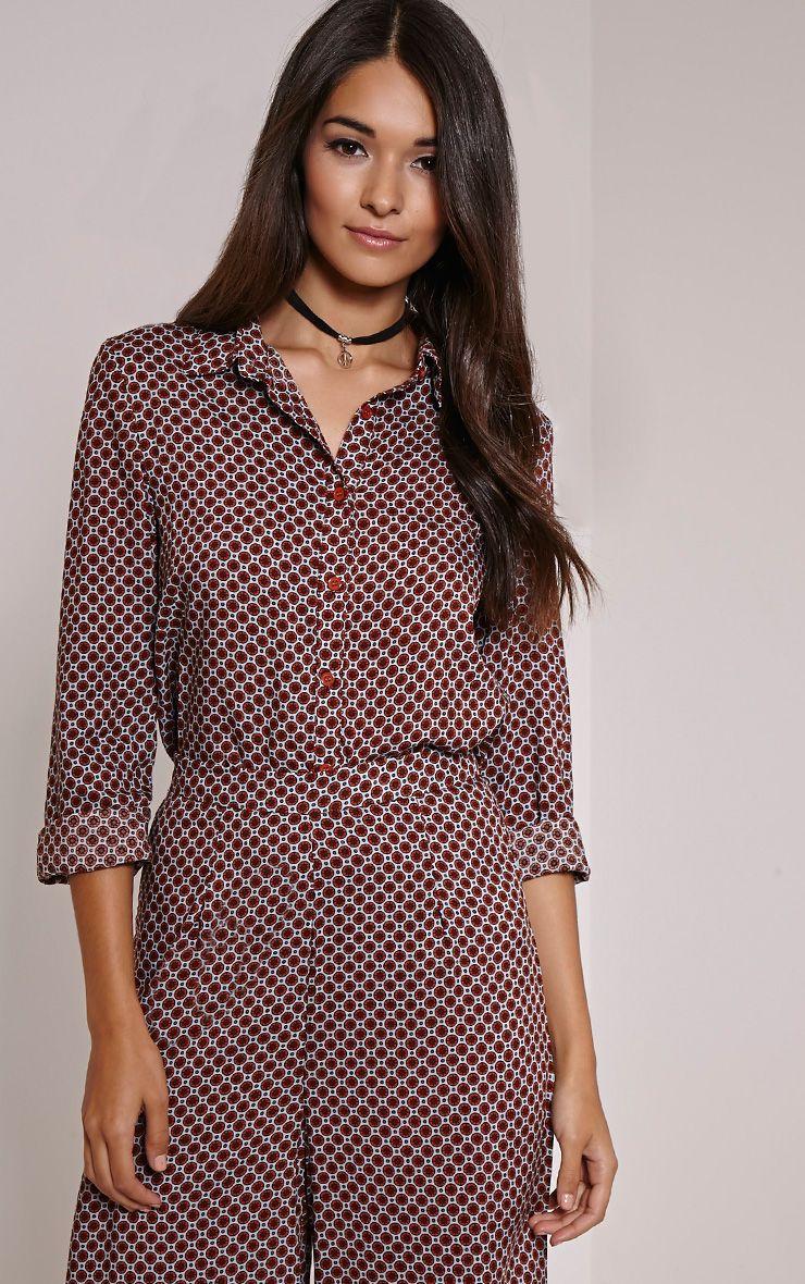 Henna Rust Geometric Pattern Blouse 1