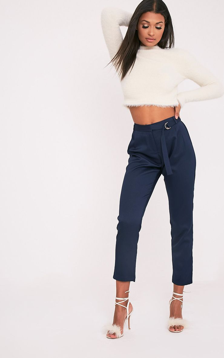 Teena Navy D-Ring Belted Trousers 1