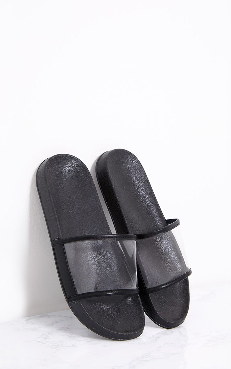 Janette Black Clear Strap Sliders