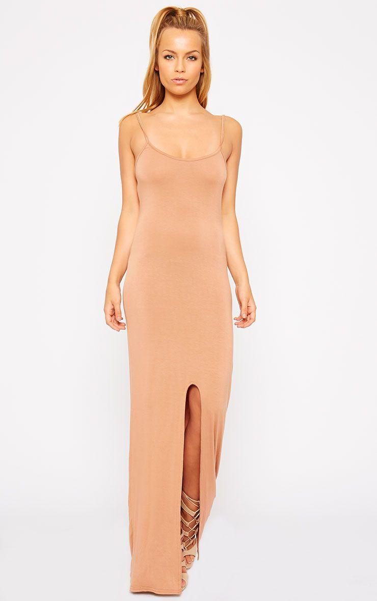 Aurelia Camel Front Slit Cami Maxi Dress 1