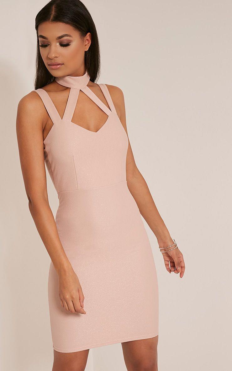 Alsah Blush Strap Detail  Bodycon Dress 1
