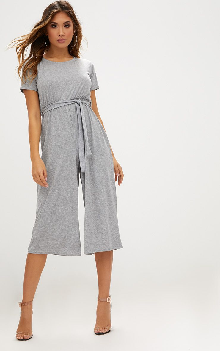 Grey Marl Jersey Short Sleeve Culotte Jumpsuit