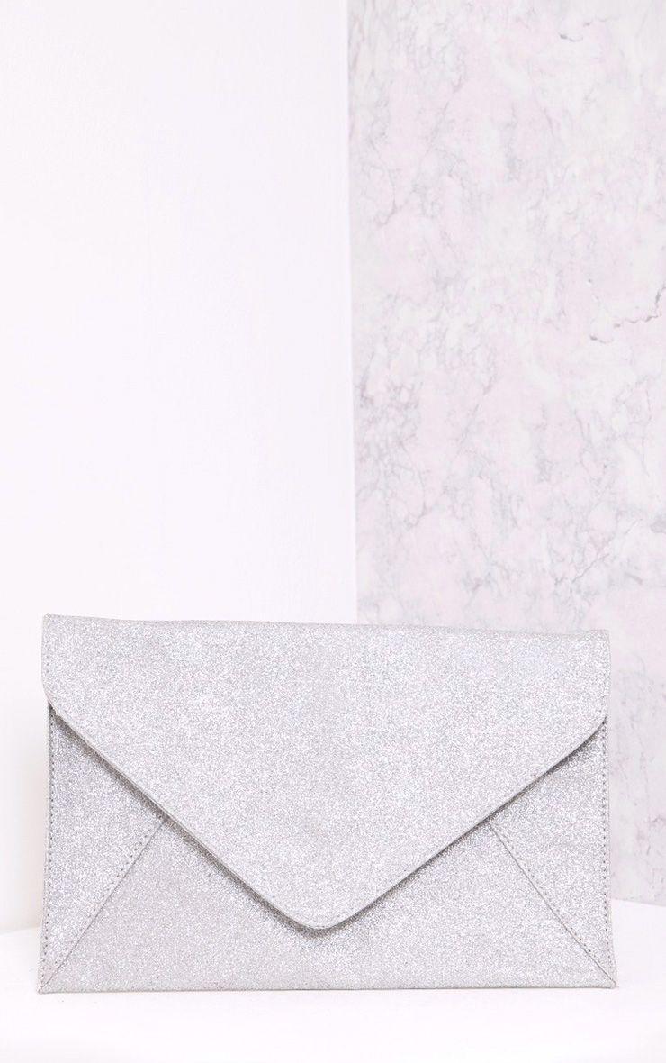 Paige Silver Glitter Clutch Bag