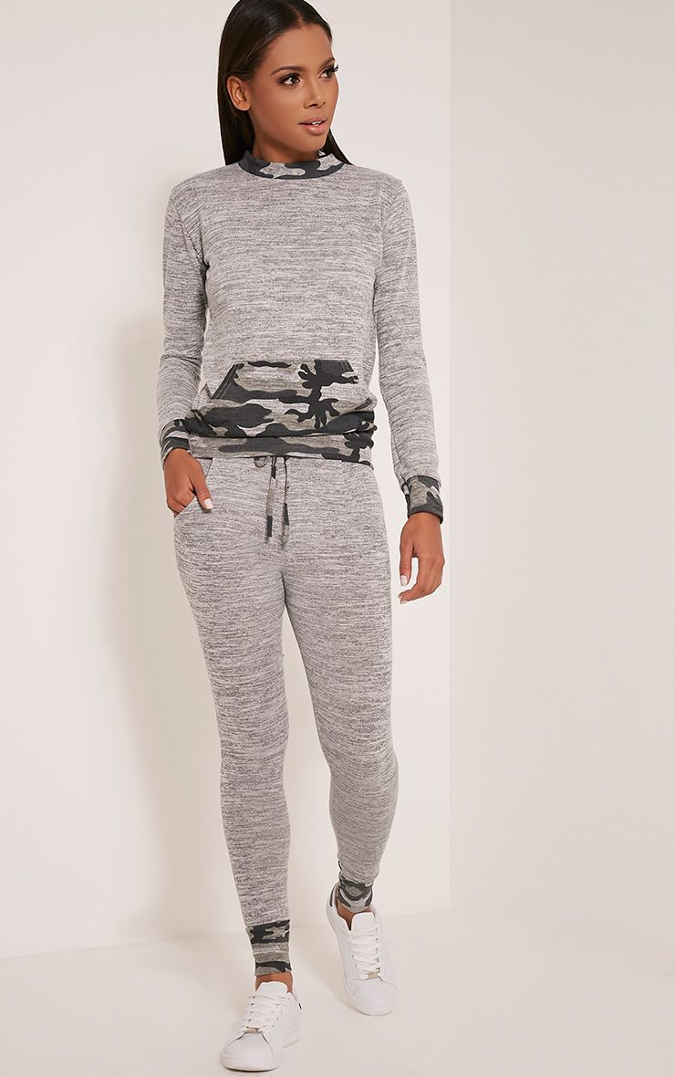 Kimora Grey Camouflage Contrast Tracksuit Bottoms 1