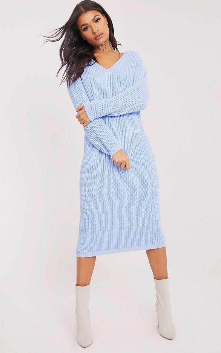 Breeze robe pull surdimensionnée bleue à col en V 4