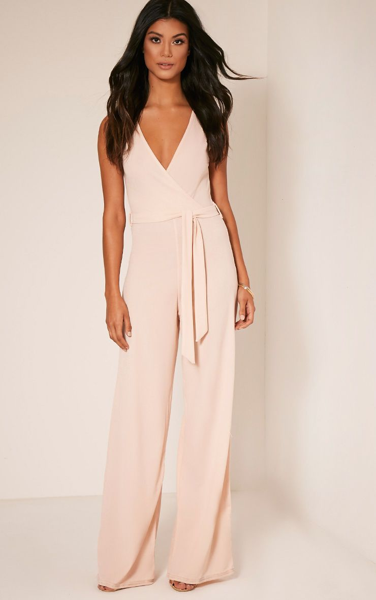 Harriet Blush Wrap Detail Tie Waist Jumpsuit