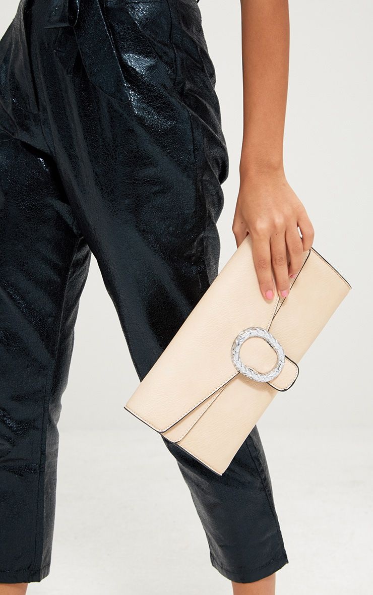Nude Oval Buckle Clutch