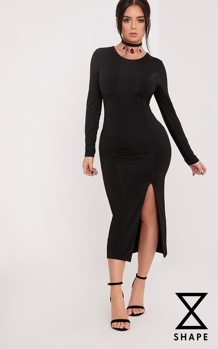 Shape Nia Black Front Split Midi Dress