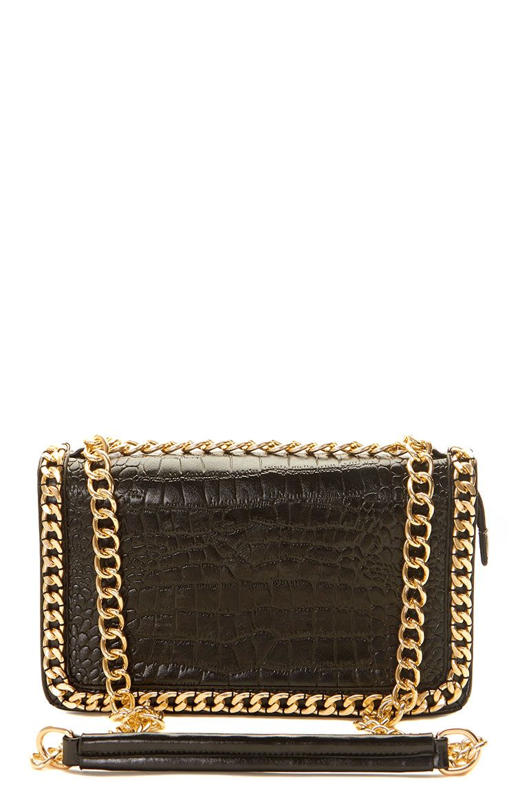Ophelia Black Chain Detail Bag Black