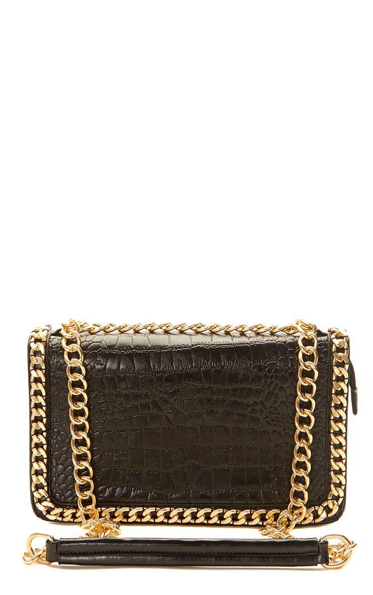 Ophelia Black Chain Detail Bag Black