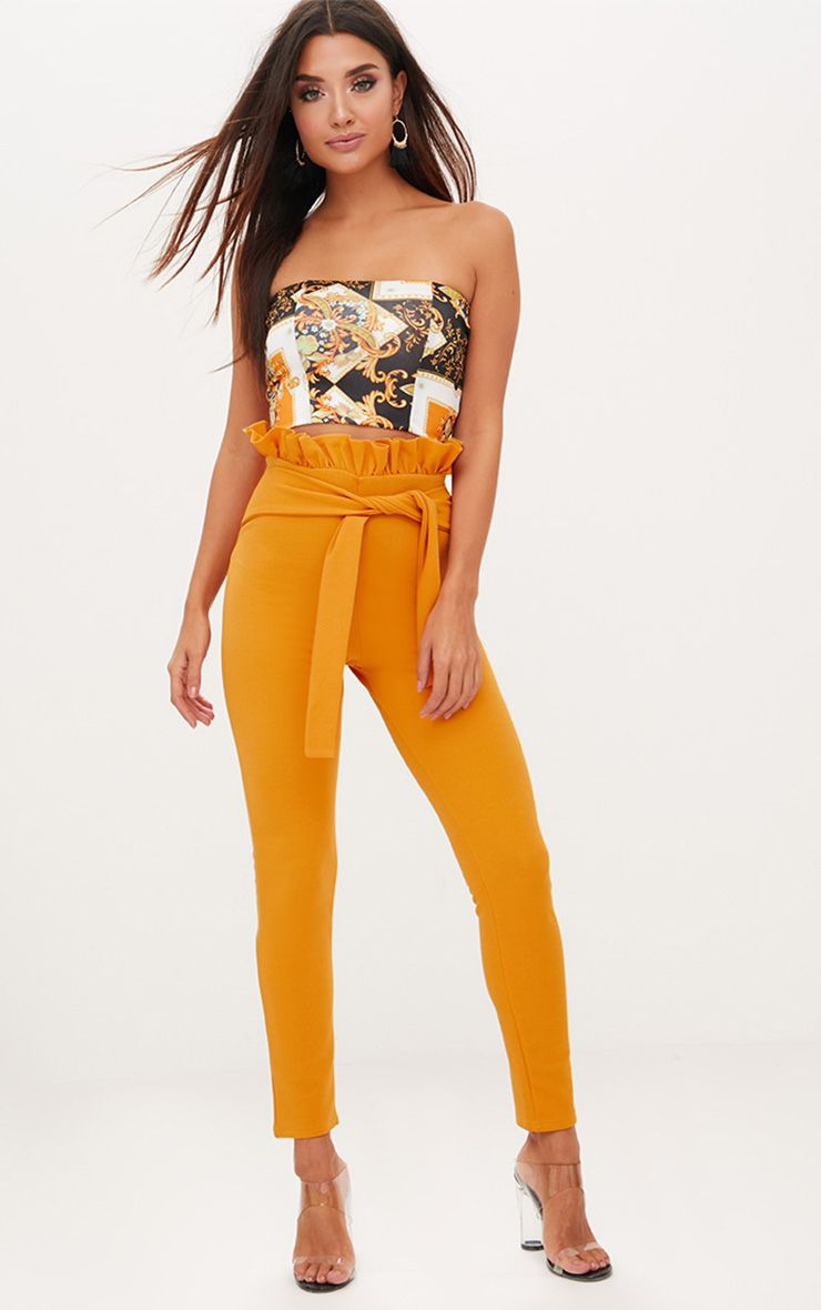 Mustard Paperbag Waist Skinny Trousers