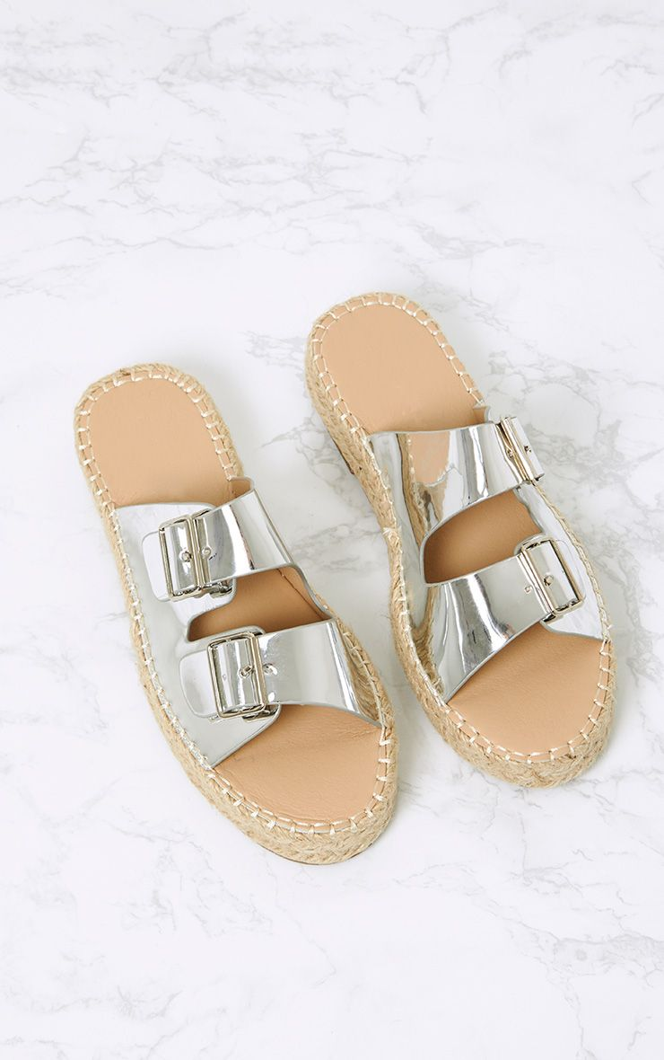 Madge Silver Metallic Espadrille Sandals