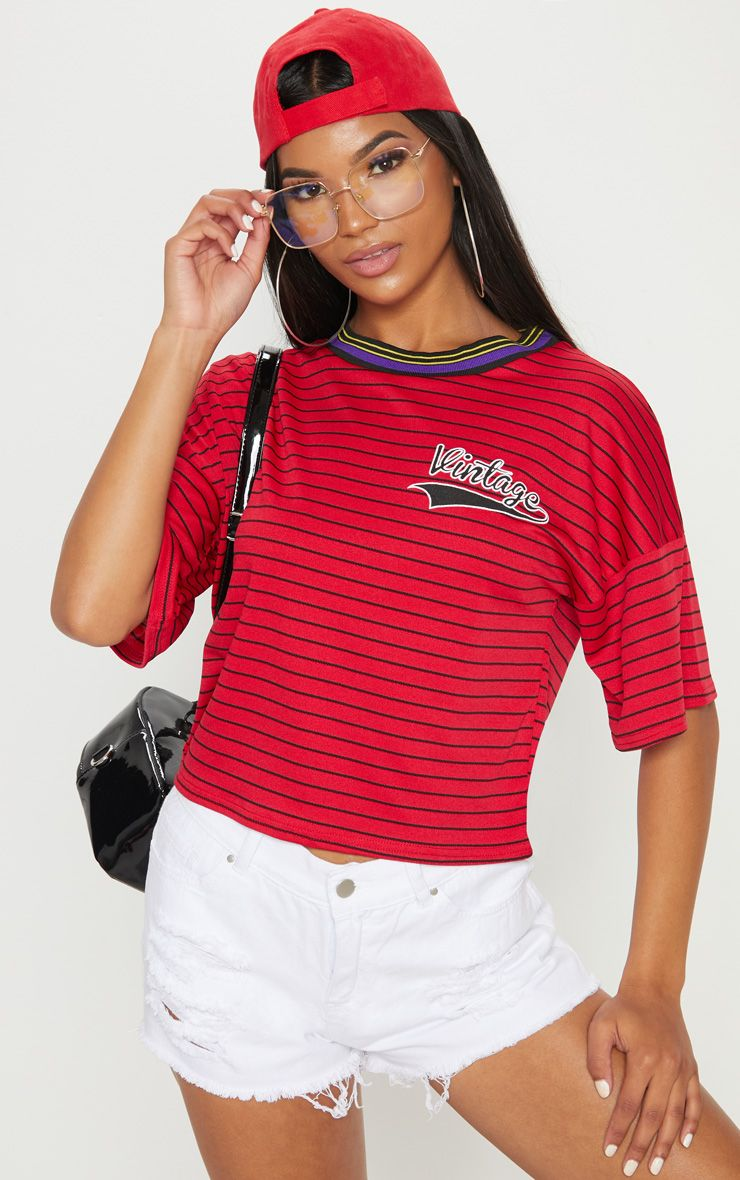 Red Vintage Slogan Pinstripe Boxy T Shirt